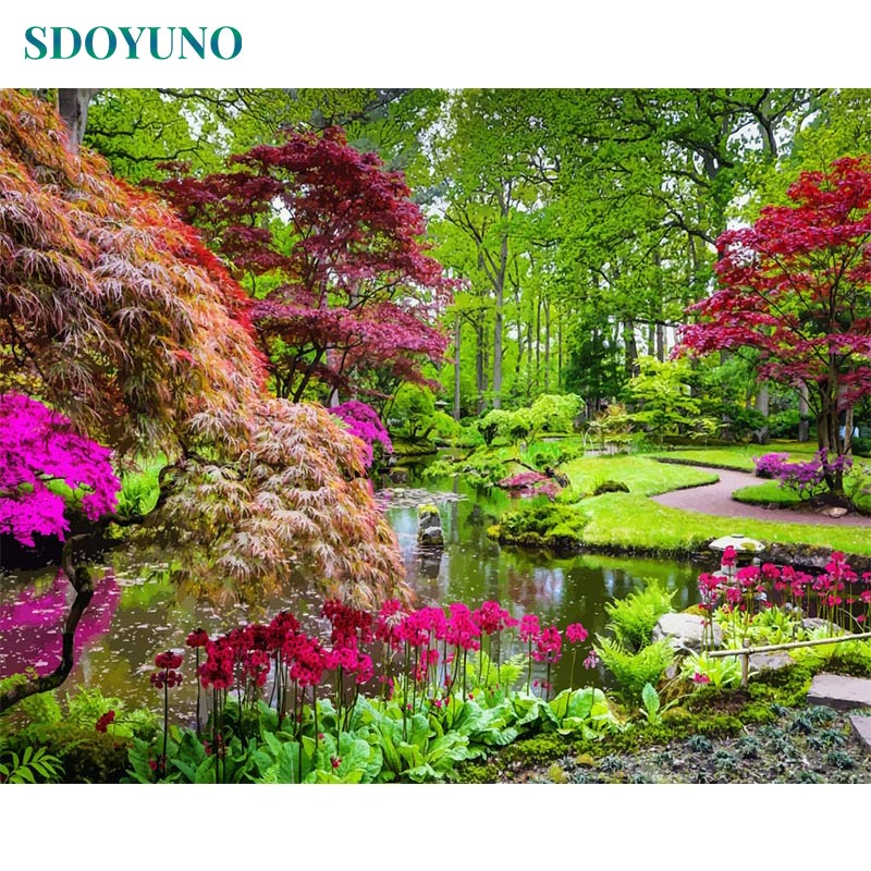 SDOYUNO Frameless Painting By Numbers DIY 60X75cm Wall Art Landscape Paint By Number Canvas Painting Kits Home Decor Gift