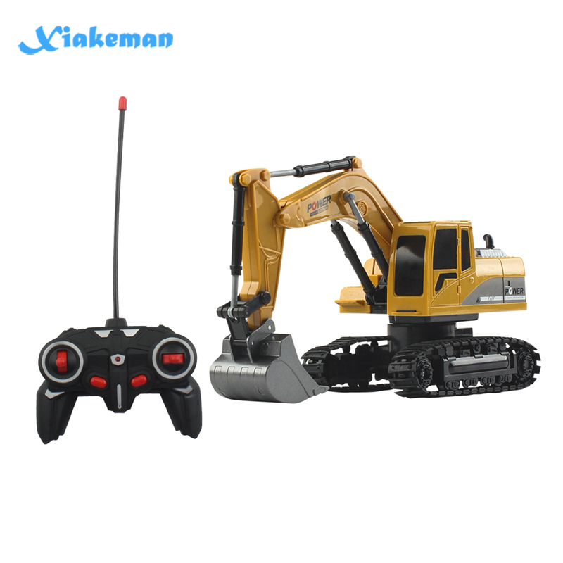 Remote Control Excavator 1:24 RC Car Four-Wheel Drive 6-Channel Light One-click Demonstration Of Children's Educational Toys(China)
