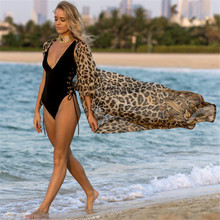 2021セクシーなヒョウビキニカバーアップボヘミアンプリントロング着物カーディガンシフォンチュニック女性ビーチウェア水着カバーアップQ951