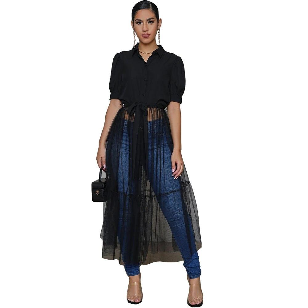 Fashion Shirt Style Button Gauze Dress Ladies Long Street Solid Color Dress Casual Home Commuting Dress Female Wholesale 10