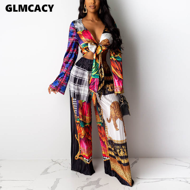Women Sexy V-neck Print Flare Sleeve Women Set's Autumn Casual Loose Long Sleeve Short Top And Floor-length Pants Two Pieces
