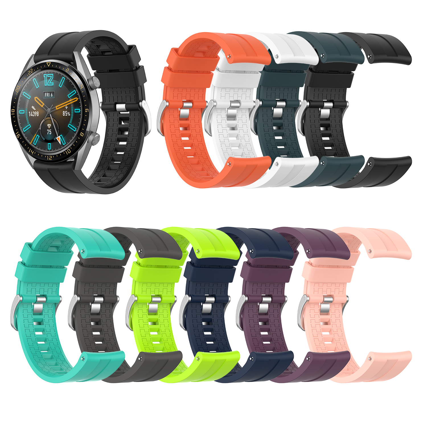 For Huawei Watch GT 46mm Official Silicone Strap Universal Display Width 22MM Watch Smartwatch Watchband Replacement Accessories