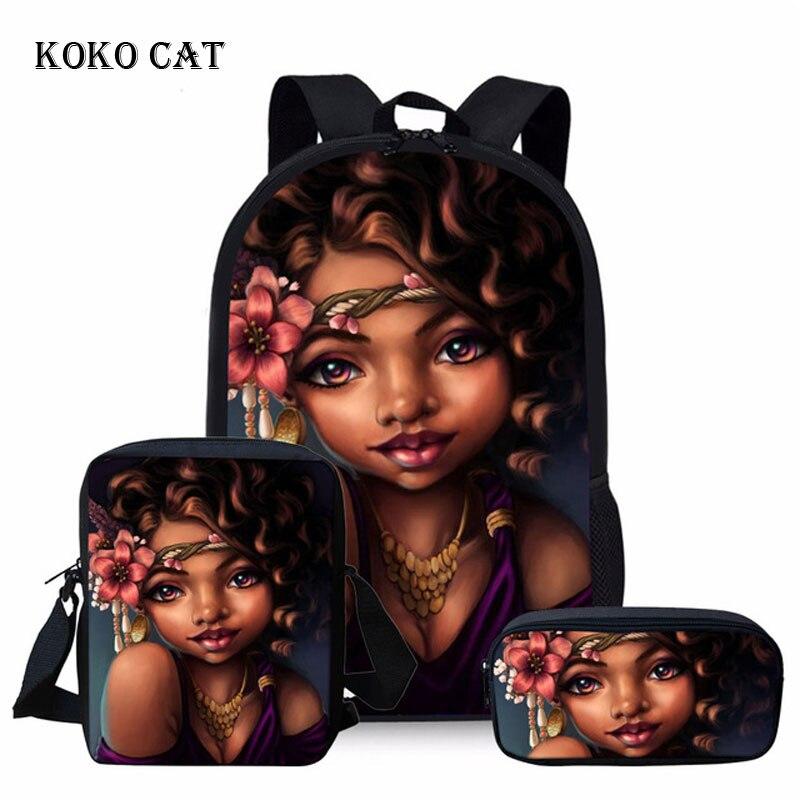School Bags Sets For Teenager Girls Black Art African Girl Printed Backpack Student Book Bags Travel Daypack Mochila Infantil