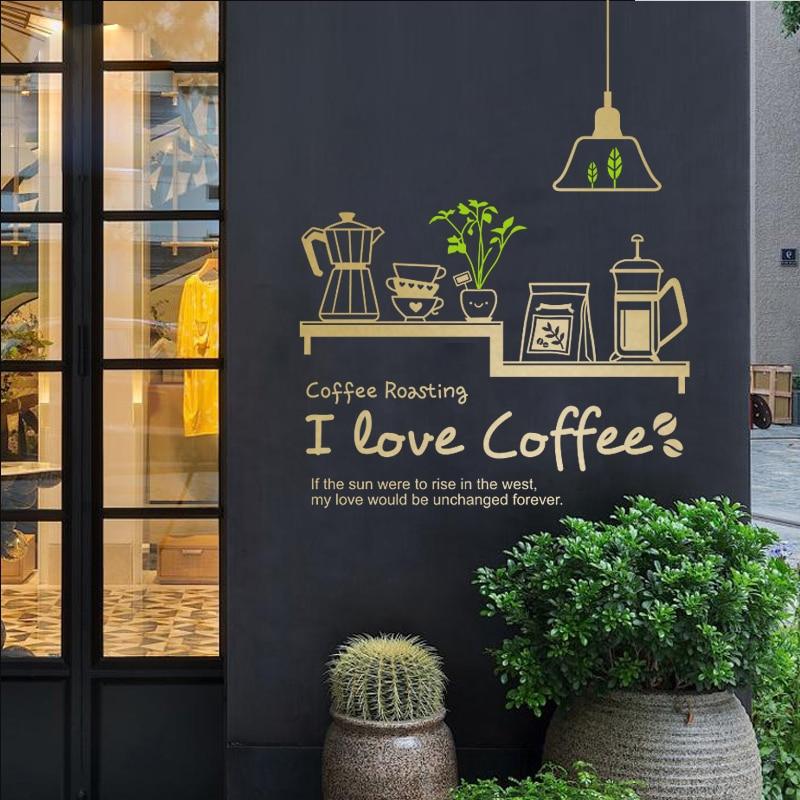 Coffee Shop Sticker Bean Milk Tea Decal Cafe Cup Poster Vinyl Art Wall Decor Mural Decoration Break Bread Coffee Glass Decals