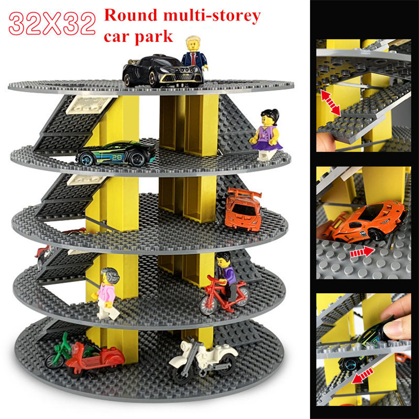 Double-sided Car Parking Round Base Plate For Small Bricks Building Blocks DIY Toys BasePlate Compatible Brand Toys For Kids