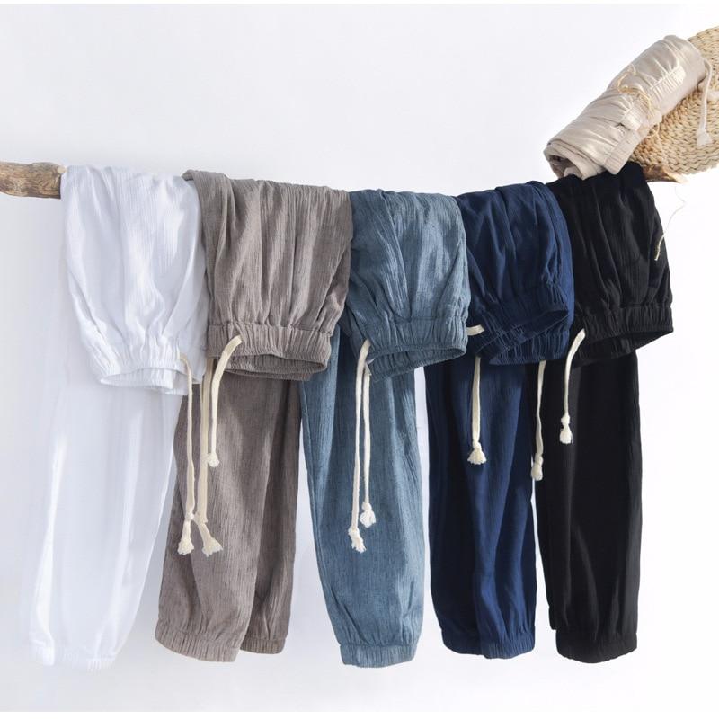 801 Men Casual Capri Harem Pants Linen Pants Harem Pants
