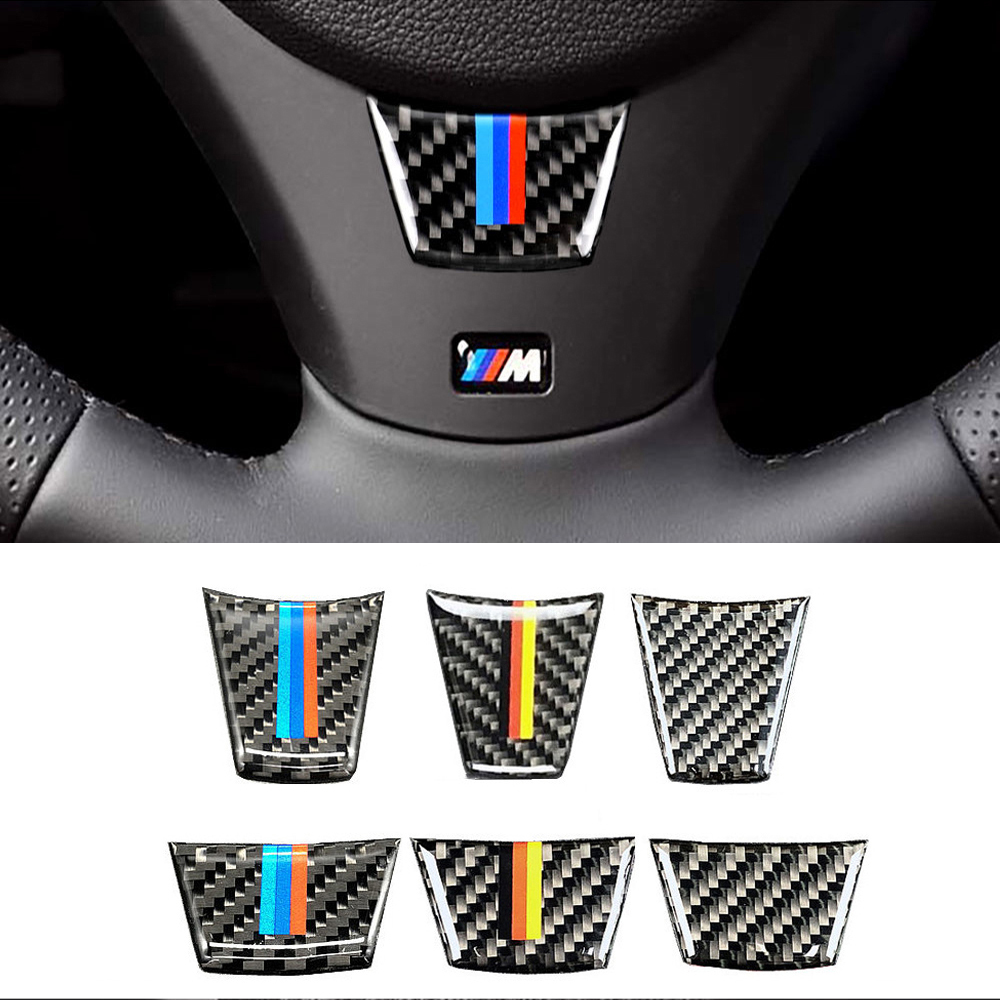 For <font><b>BMW</b></font> <font><b>E90</b></font> E92 E93 3 Series <font><b>Carbon</b></font> <font><b>Fiber</b></font> Car <font><b>Interior</b></font> Steering Wheel Decoration Cover Car Sticker High-quality Auto Accessories image