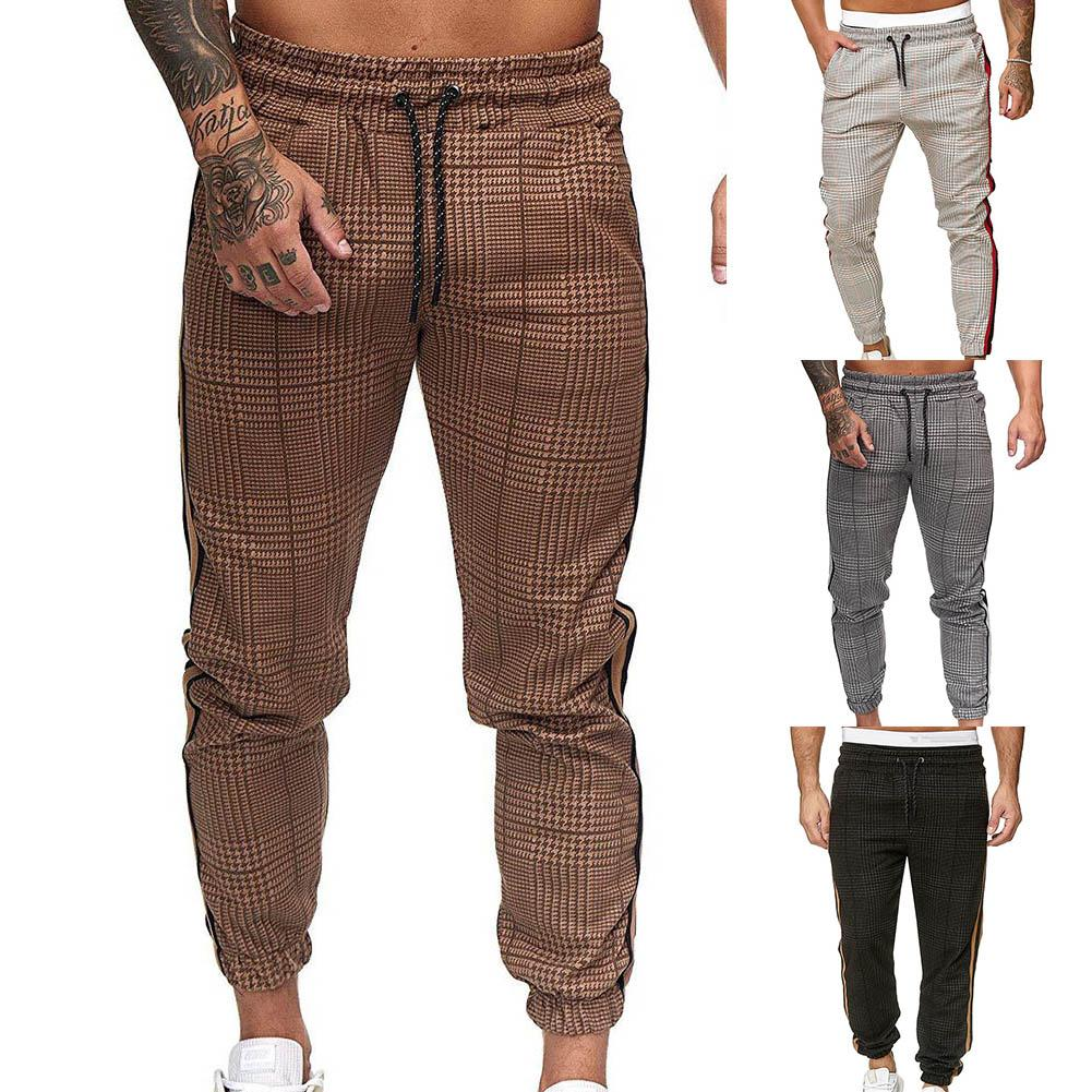 Men Pants Casual Pockets Stripe Plaid Print Trousers Drawstring Long Pants Ankle-Tied Trousers