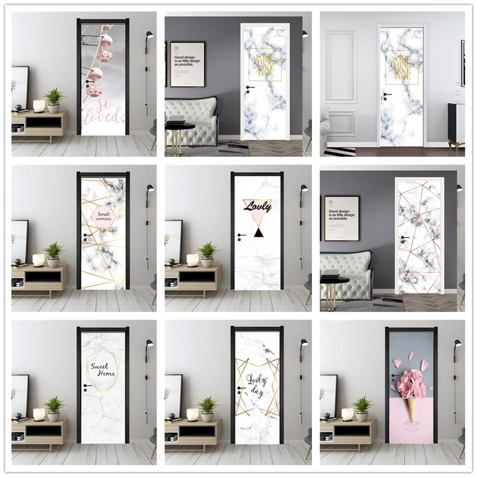 Marble Door Sticker PVC Peel And Stick Wallpaper Waterproof Poster Flower Sea Wall Art Mural Decals Home Decor Autocollant Porte