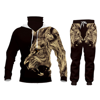 CJLM Casual Men's Tracksuit Hoodie Pants 3D Printing Two-piece Winter Jacket Men Loose Large Size Black Animal Lion Suit Sports 3