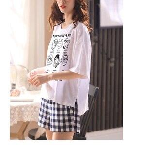 Image 2 - Kobiety dziewczęta odzież domowa ubrania z krótkim rękawem letnie sprawdzone zestawy piżamowe chusta bawełniana bielizna nocna salon O neck odzież wewnętrzna