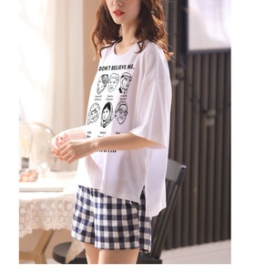Image 2 - Women girls Home wear clothes short Sleeve summer checked Pajamas Sets plaid Cotton Sleepwear Lounge O neck indoor clothing