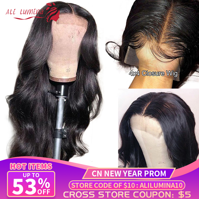 4X4 Lace Closure Wig Body Wave Human Hair Wigs With Lace Closure Ali Lumina Pre-Plucked With Baby Hair Remy Malaysian Hair Wig