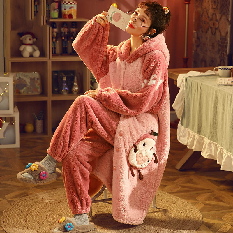 Women Pajamas Thick Warm Sleepwear Autumn and Winter Coral Fleece Robe Plush Plus Size Loose Home Clothes Nightgowns for Women