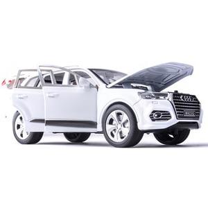 124 модель автомобиля из алюминиевого сплава для Audi Q7, модель внедорожника со звуком и светильник, игрушки для детей, коллекция автомобилей