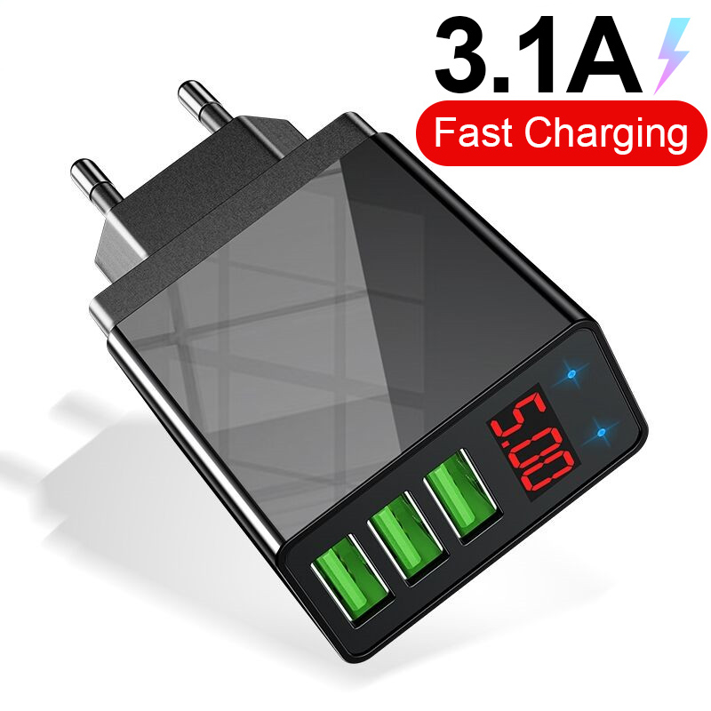 5V 3.1A Digital Display USB Charger Universal For IPhone Charger 3 Port USB Fast Charging Wall Phone Charger For Samsung Xiaomi