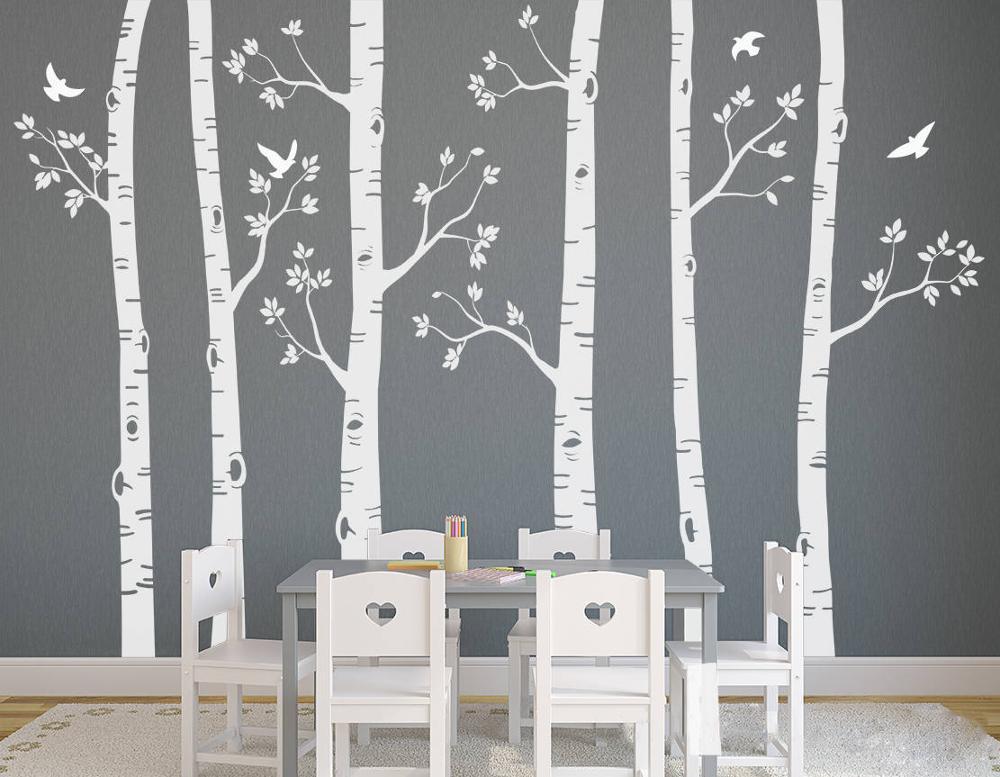 Белые березовые деревья наклейки на стену в детскую DIY большое дерево домашний декор Настенная роспись художественные детские наклейки вет