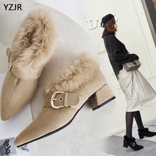 YZJR free shipping rabbit fur shoes female sheep suede leather fur shoes pointed thick with external wear fashion shoes(China)