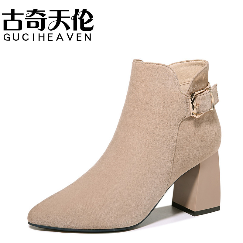 Gucci Tianlun 2019 Autumn And Winter New Style Pointed Toe Chunky Heel Boots Side Zipper Short Boots Waterproof Platform WOMEN'S