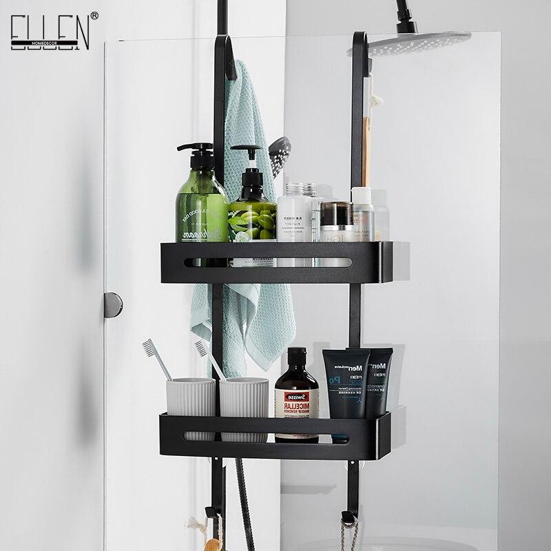 Black Hanging Bath Shelves Bathroom Shelf Organizer Nail-free Shampoo Holder Storage Shelf Rack Bathroom Basket Holder EL5018