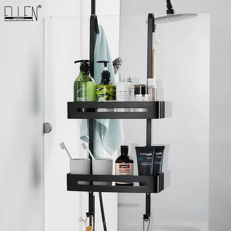 black hanging bath shelves bathroom shelf organizer nail free shampoo holder storage shelf rack bathroom basket holder el5018