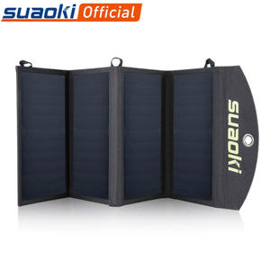 Suaoki Foldable Solar Charger 25W Portable Dual USB Phone Charging 5V4A Output 4 Solar Panels Charger for iPhone Xiaomi Samsung