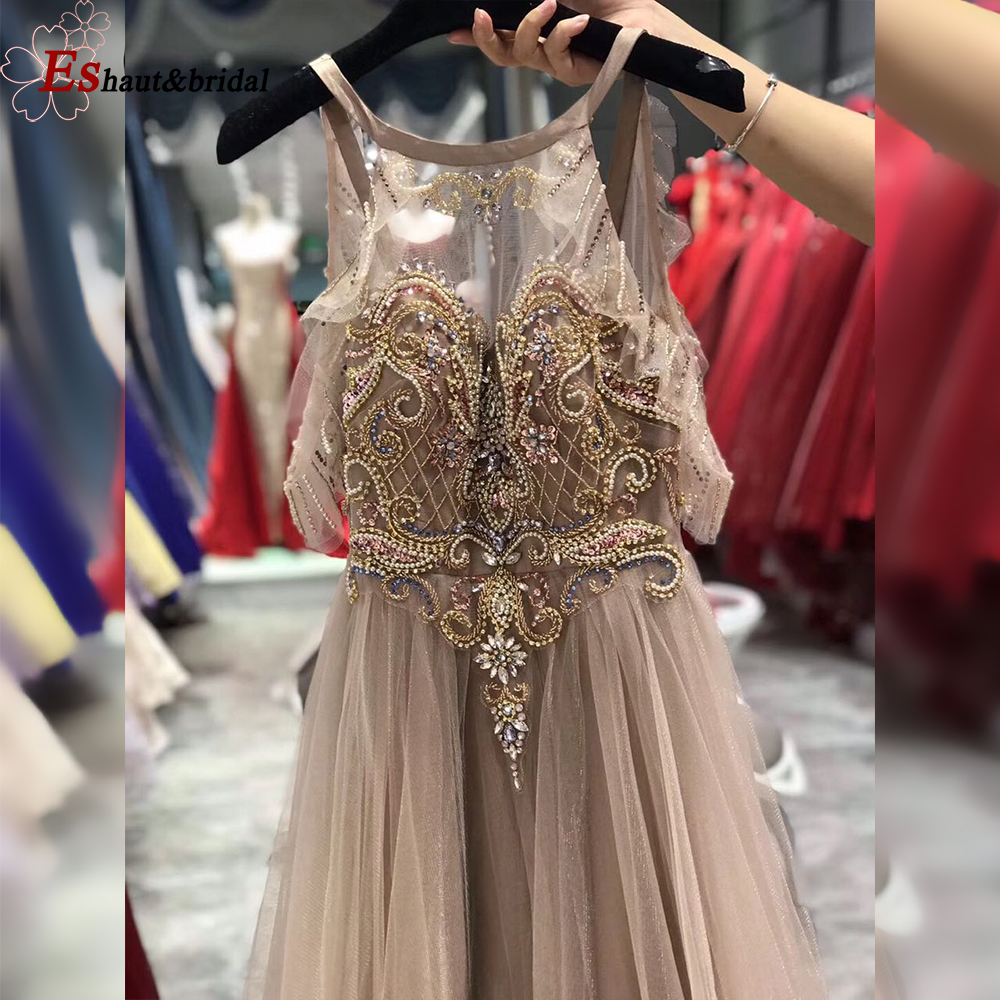 Blush Prom Dress 2019 Aline O Neck Off The Shoulder Luxury Crystal Beads Handmade Tuttle Long Formal Party Evening Gown