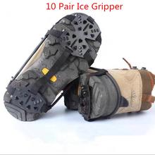 10 para 24 zęby Ice Gripper na buty kobiety mężczyźni antypoślizgowe Crampons Ice Gripper Spike uchwyty korki dla ice śnieg wspinaczka tanie tanio OLOME Z00343
