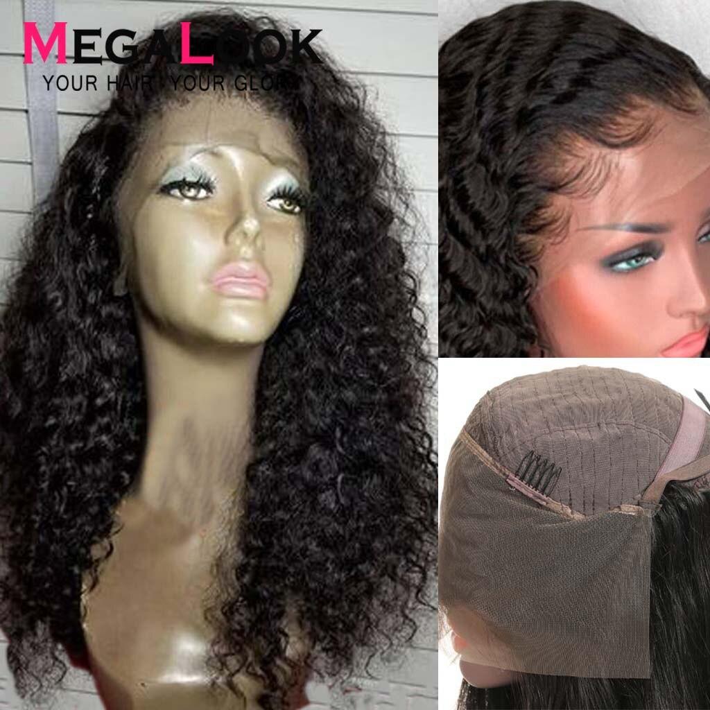 Perruques ondulées profondes sans colle avant de lacet perruques de cheveux humains pré plumées malaisiennes Remy perruques frontales de cheveux naturels pour les femmes noires 13x4