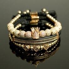 3 шт/компл хип хоп золотые браслеты с короной 8 мм кубический