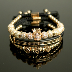 Image 1 - 3pcs/Set Hip Hop Gold Crown Bracelets 8MM Cubic Micro Pave CZ Ball Charm Braided Braiding Man Luxury Jewelry Pulseira Bileklik