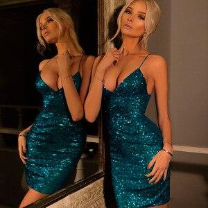 Image 3 - עלה זהב פאייטים שמלת מועדון דיסקו שמלת גליטר מבריק סקסי תחבושת שמלת קוקטייל המפלגה שמלה אדום NightOut קצר שמלת WMZ 2139