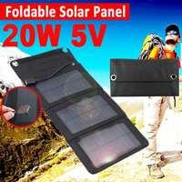 20W 5V 접이식 태양 전지 패널 충전기 태양 광 발전 은행 휴대 전화 캠핑 야외