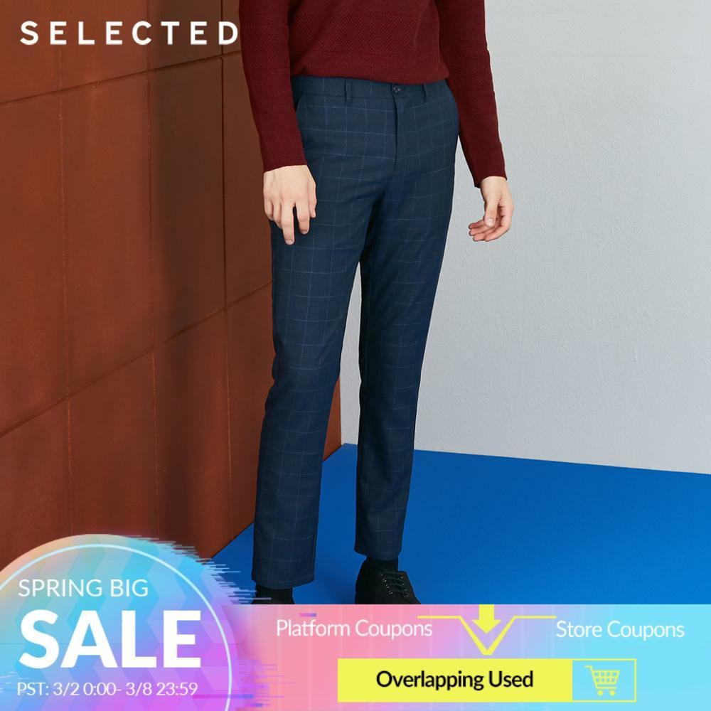 SELECTED Mens Autumn Slim Fit Plaid Casual Pants S418314558Harem Pants