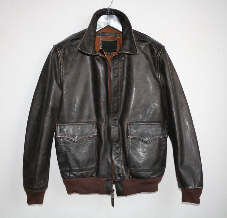 Free Shipping,man Genuine Leather Jackets,classic A2 Vintage Cowhide Jacket,Military Style,Tanned Tea Core Cowhide,casual Style