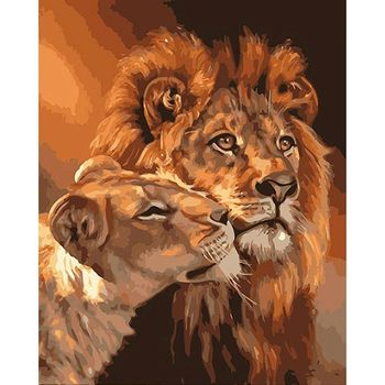 RUOPOTY  Embroidery Lion House Digital diy Oil painting Children's Pet canvas hand-painted paint Home Decoration Art canvas