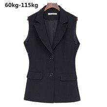 Женское короткое пальто большого размера плюс, Профессиональный жилет 100 кг без рукавов черного цвета для весны и лета, 2019