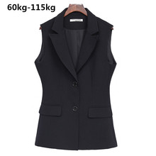 Artı artı boyutu XL 8XL yağ MM 100kg profesyonel kısa ceket kadın 2019 bahar yaz yeni kolsuz yelek kadın yelek siyah üst