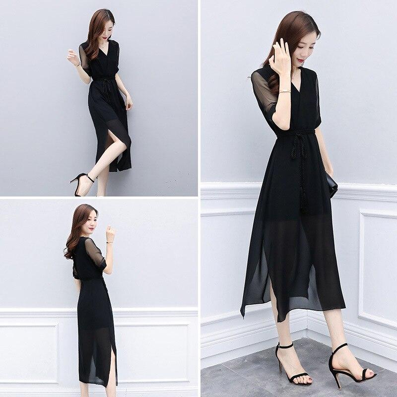 Dress Women's 2019 Summer Fashion Elegant New Style Black V-neck Debutante Chiffon Hepburn Slit Medium-length Skirt