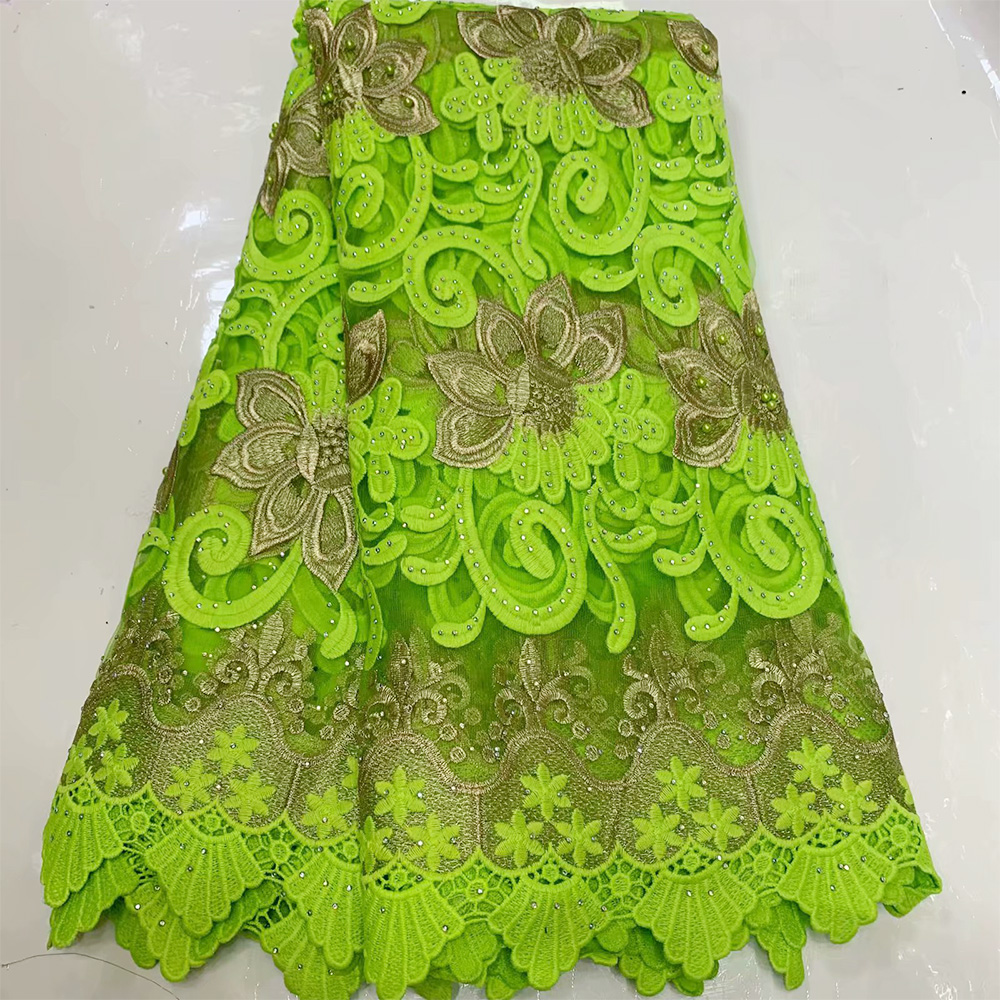 5yards Beaded Lace Fabrics African With Rhinestones Swiss Voile Lace Switzerland Dry Cotton Lace Fabric Nigerian Women Man