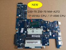 Free Shipping For Lenovo G50 70 G50 70M Z50 70 G50 80 NM A272 NM A362 notebook motherboard i7 4510u i7 4500u 5B20G36670