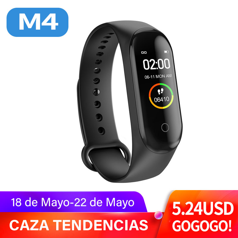 M4 Smart Bracelet Color Screen Bluetooth Pedometer Hear Rate Monitor  Waterproof Health Function Smart Wirstband Fast Shipping