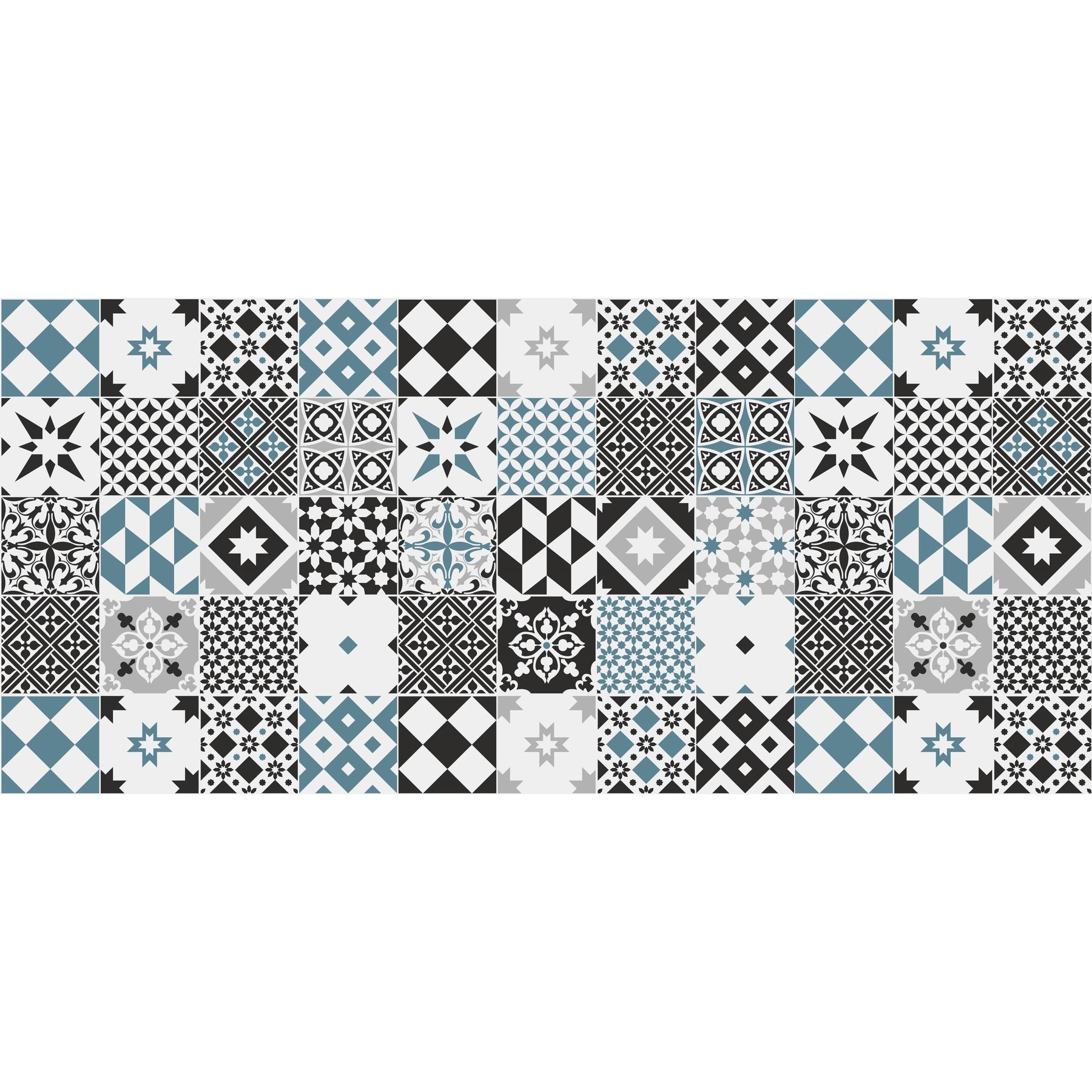 40X60cm Alfombra VINILICA Estampada Vinilo DE PVC F/ÁCIL Limpieza Antideslizante Acolchada BALDOSA HIDR/ÁULICA Azul