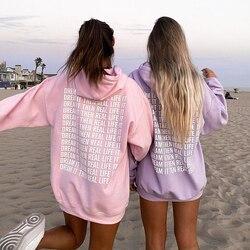 Oversized Pink Hoodie Sweatshirt Women 2020 Harajuku Autumn Letter Print Casual Long Pullovers Y2k Tops Purple Hoodies Sudaderas