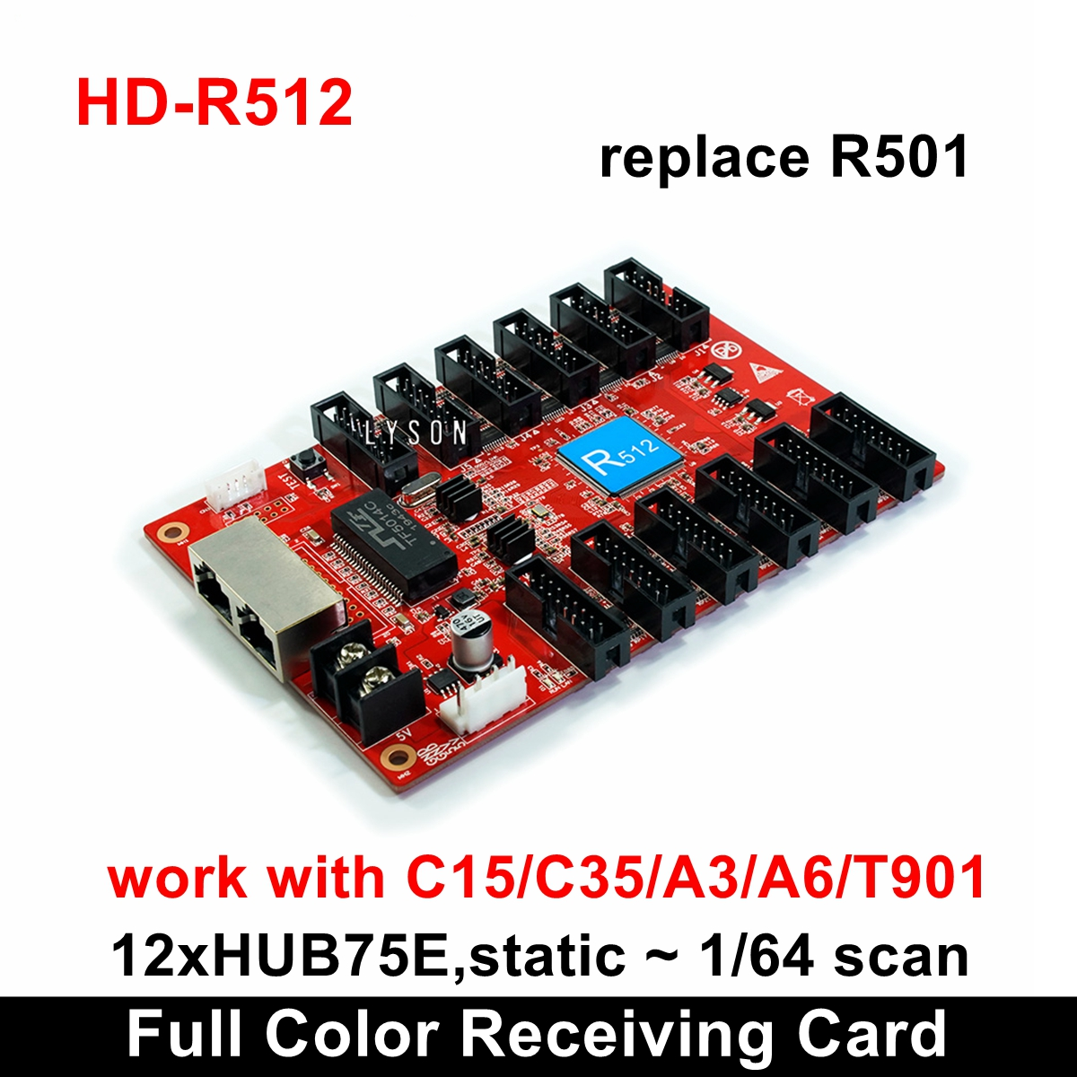 Huidu HD-R512 Full Color Receiving Card Replace Old HD-R501 Work With HD-C15C HD-C35C HD-A3 HD-T901 Sending