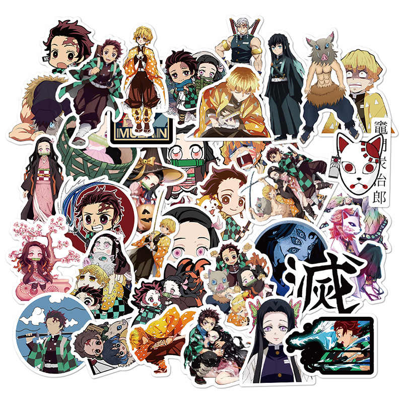 50 Stks/set Demon Slayer Kimetsu Geen Yaiba Sticker Tanjirou Nezuko Agatsuma Zenitsu Briefpapier Computer Decoratie Sticker