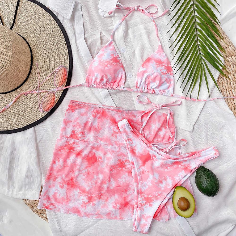 ZTVitality Tre Pezzi del Vestito Tie-dye Sexy Bikini 2020 di Vendita Calda Reggiseno Imbottito Push Up Bikini della Fasciatura del Costume Da Bagno Femminile costumi da bagno Delle Donne