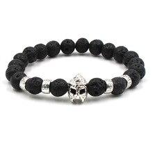 Newst Fashion Style Chakra Healing Beads Bracelets Women Men Natural Lava Stone Helmet Bracelet Unisex Jewelry Pulseira Feminina