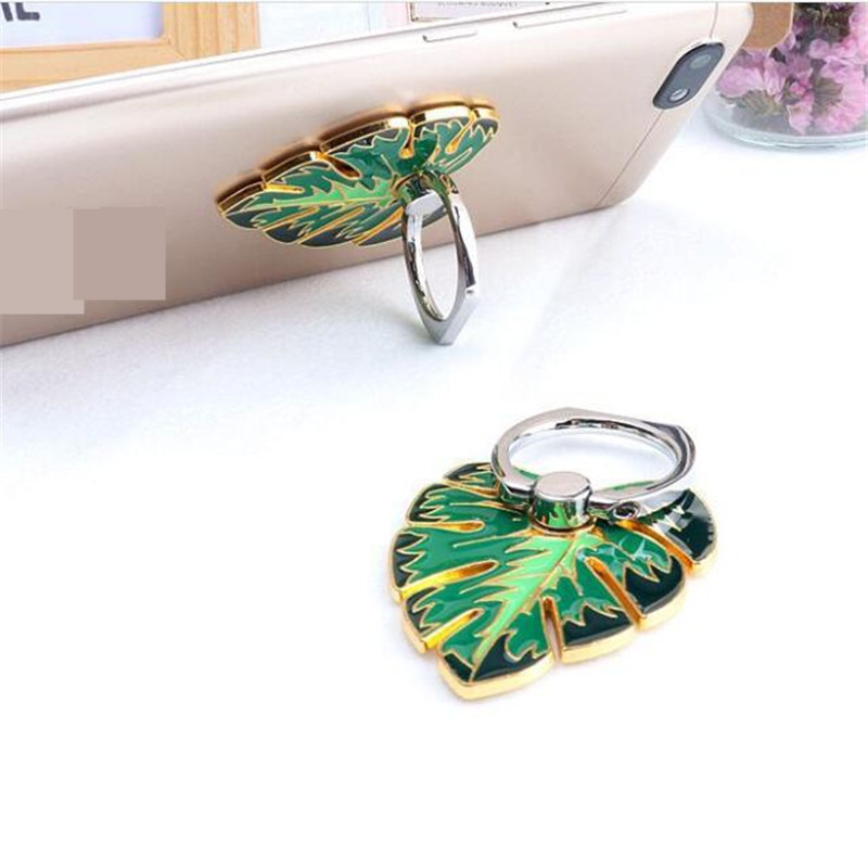 Metal Green Tree Leaves Ring Phone Holder Car Mount Stand Finger Ring Smartphone Holder Mobile Phone Holder For All Phone