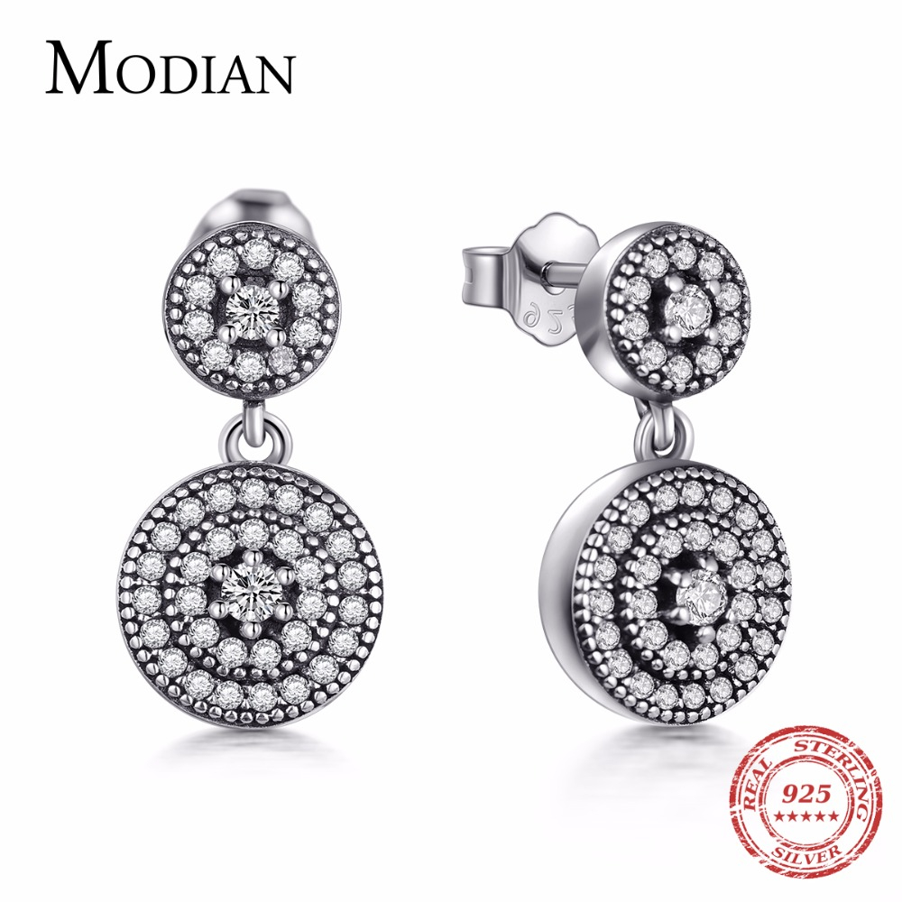 Modian 2019 New Fashion Cubic Zirconia Genuine 925 Sterling Silver Crystal Drop Earrings Vintage Elegant Jewelry For Women Gift